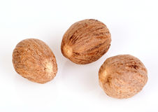 Nutmeg. Three nutmeg isolated on white background royalty free stock image