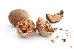Nutmeg. Isolated over white background royalty free stock photos