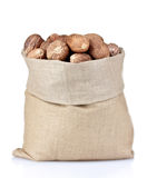 Nutmeg in bag over the white Royalty Free Stock Photo