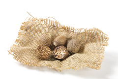 Nutmeg On Burlap Royalty Free Stock Images