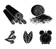 Nutmeg, cinnamon, bay leaves, cloves.Herbs and spices set collection icons in black style vector symbol stock. Illustration Stock Photography