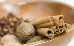 Nutmeg cinnamon and cloves Stock Photo