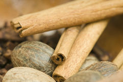 Nutmeg cinnamon and cloves Royalty Free Stock Photo