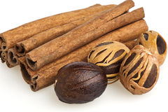 Nutmeg and cinnamon sticks Stock Photo