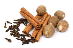 Nutmeg, cinnamon sticks and cloves Stock Images