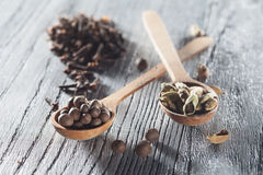 Nutmeg, clove and allspice in old spoon on wood Royalty Free Stock Photography