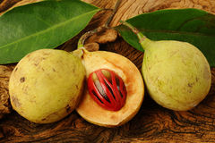 Nutmeg fruits. On wooden background royalty free stock photography