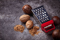 Nutmeg and grater. On dark concrete background stock image