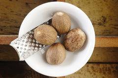 Nutmeg and grater Royalty Free Stock Photography