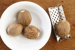 Nutmeg and grater Royalty Free Stock Images