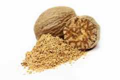 Nutmeg. Ground nutmeg close up royalty free stock images