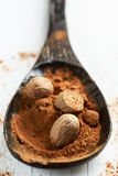 Nutmeg. Ground nutmeg spice in a wooden spoon, closeup stock photography