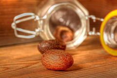 Nutmeg with jar 2 Royalty Free Stock Images