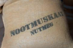 Nutmeg in a jute bag Stock Photo