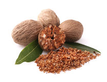 Nutmeg with leaves Stock Photography