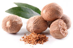 Nutmeg with leaves. Nutmeg with leaves on a white background royalty free stock image