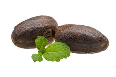 Nutmeg with mint Stock Photo