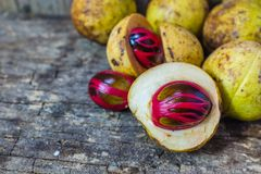 Nutmeg with placenta-like cover of seed of myristica fragrant on Stock Photo