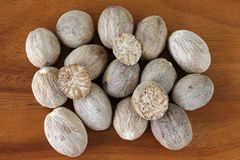 Nutmeg Seeds cut in half Royalty Free Stock Image