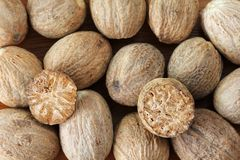Nutmeg Seeds cut in half Royalty Free Stock Photos