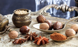 Nutmeg seeds and powder Stock Images