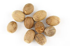 Nutmeg seeds  on a white background Stock Image