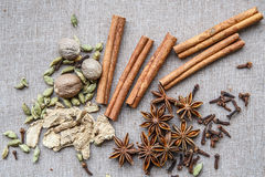 Nutmeg star anise Cardamom nutmeg cinnamon ginger clove spice ca Stock Photos