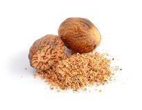 Nutmeg With Shavings. Royalty Free Stock Photography