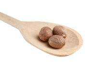 Nutmeg in a wooden spoon Royalty Free Stock Photos