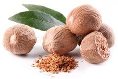 Nutmeg z liśćmi. Obraz Royalty Free