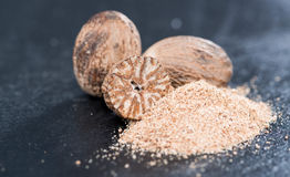 Nutmegs (fresh grated) royalty free stock image