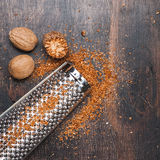 Nutmegs grated Royalty Free Stock Image