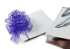 Nutowa karta z fiołkową łęku i srebra prezenta torbą odizolowywającą na bielu Zdjęcia Stock