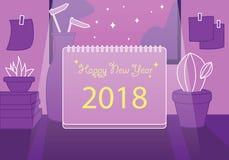 Nutowi płascy szczęśliwi 2018 nowego roku ramowy tło Obraz Royalty Free