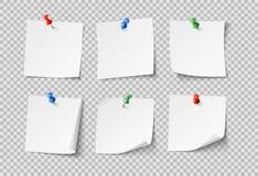 Nutowi papiery Białe puste kleiste notatki z kolor szpilkami Nikt papierowy wektor ustawiający odizolowywającym royalty ilustracja