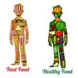 Nutrição e fast food da dieta saudável Ícones humanos ilustração stock