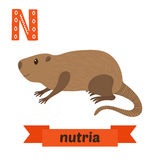 Nutria. N letter. Cute children animal alphabet in vector. Funny. Cartoon animals. Vector illustration stock illustration