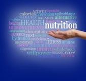 Nutrición en la palma de su mano ilustración del vector