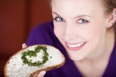 Nutrición sana con el corazón Imágenes de archivo libres de regalías