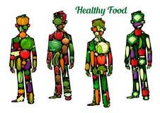 Nutrición sana de la comida Iconos del cuerpo humano Foto de archivo libre de regalías