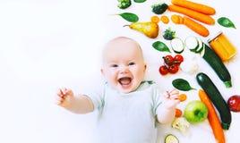 Nutrición sana del niño del bebé, fondo de la comida, visión superior fotos de archivo