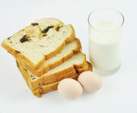 Nutrient breakfast. Of bread slices,eggs and a glass of milk Stock Photos