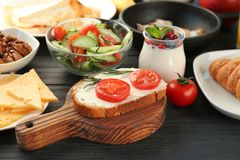 Nutrient breakfast on table. Nutrient breakfast on the table royalty free stock images