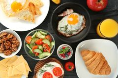 Nutrient breakfast on table. Nutrient breakfast on the  table Royalty Free Stock Photo
