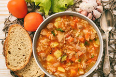 Nutrient soup with meat, rice and vegetables - mastava uzbek kitchen. Stock Images