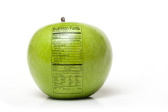 Nutrition apple. Green apple with Nutrition Facts label information on a white background Royalty Free Stock Photos