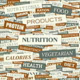 NUTRITION. Background concept wordcloud illustration. Print concept word cloud. Graphic collage stock illustration