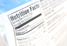 Nutrition. A close up on a nutrition facts label Stock Photo