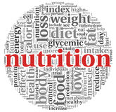 Nutrition concept in tag cloud. Nutrition words concept in tag cloud on white royalty free illustration