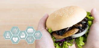 Nutrition d'icônes de médias d'insecte de crickets pour manger comme produits alimentaires faits en insecte cuit dans l'hamburger image stock